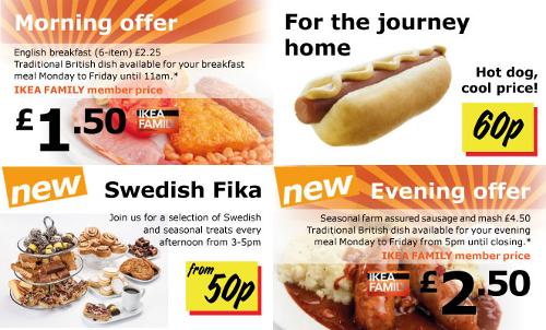 IKEA restaurant promotional leaflet.